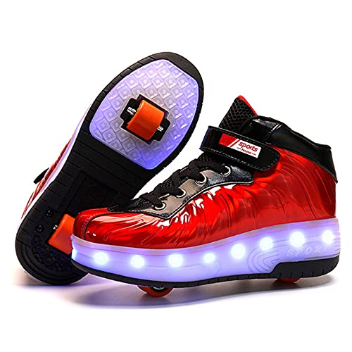 RUBAPOSM Zapatos Unisex de Patineta con Ruedas LED - Carga USB 7 Colores Parpadeantes Zapatos Luminosos Moda Casual Skate Sneaker Deportes al Aire Libre,Rojo,33