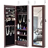 ZeHuoGe Mirror Jewelry Cabinet Wall-Mount/Door-Hanging Lockable Storage Organizer Hanging Mirror Large Capacity Dressing Mirror Standing Jewelry Cabinet (Brown)