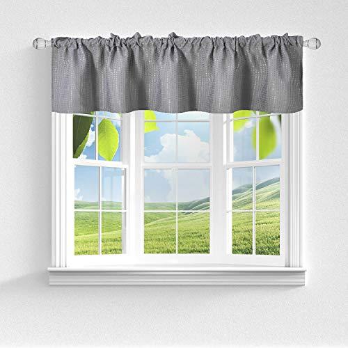 Barossa Design Querbehang aus Waffelgewebe für Küche oder Bad, wasserabweisend, kurze Länge und kleine Halbfensterbehandlung – grau, 152,4 cm B x 45,7 cm H