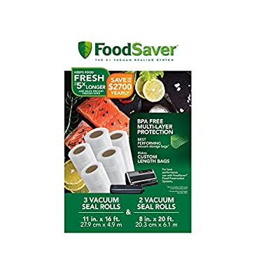 FoodSaver 8  and 11  Vacuum Seal Rolls with BPA-Free Multi-Layer Construction for Food Preservation & Sous Vide Cooking, Multi-Pack