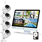 YESKAMO Long Range Wireless Outdoor Home Security Camera System with 16inch 1080p IPS Monitor 2TB Hard Drive [Floodlight & Audio] 3MP Spotlight IP Cameras 8CH WiFi Surveillance System 2 Way Audio
