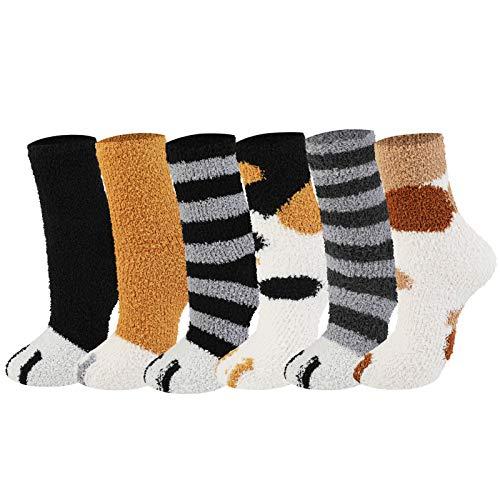 Joyibay 6 Paare Katzenpfoten Socken, Warme Flauschige Socken Verdickte Haussocken Damen Winter Schlafsocken Bodensocken Plüsch Korallen Socken für Mädchen Frauen