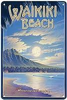 ワイキキビーチ、ブリキサインヴィンテージ面白い生き物鉄の絵の金属板ノベルティ