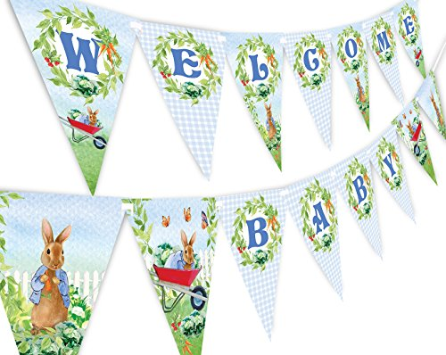 Peter Rabbit Welcome Baby Banner Pennant - Baby Shower Decoration