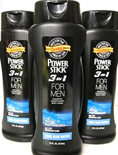 3 pack of PowerStick 3-in-1 Body Wash Shampoo and Conditioner for Men Cool Blue Water