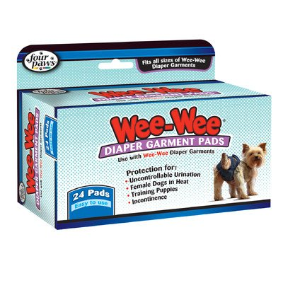 Four Paws Wee-Wee Dog Diaper Garment Pads [Set of 2]