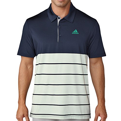 adidas Golf 2018 Ultimate 365 Heather Streifen Herren Golf Polo Shirt Collegiate Navy/Aero Green Large