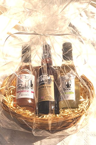 PAWSECCO DOG VALENTINE EASTER CHRISTMAS BIRTHDAY LUXURY DOG WINE & BEER HAMPER - 2 X 1 X BOTTOM SNIFFER BEER & TAG