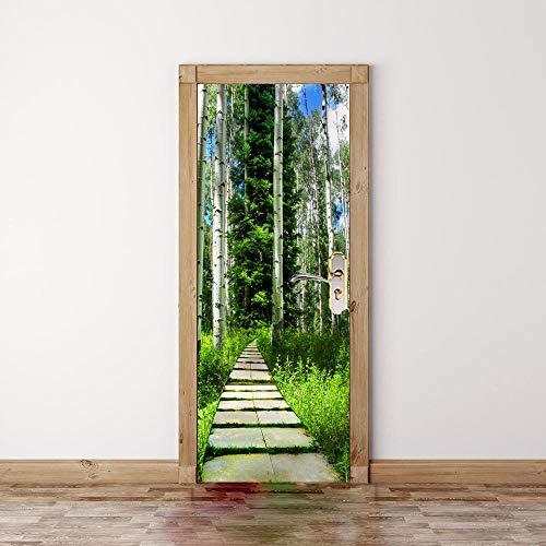 BXZGDJY 3D deursticker, deurfolie, bos, 90 x 200 cm, 3D-deur, muurschildering, muursticker, deur, voor woonkamer, kinderen, baby, kinderen, afneembaar vinyl muursticker, kunst Home decoratie, deurbehang, zelfklevend deurposter