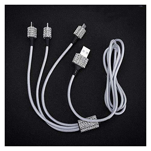 LONG Cargador de coche DUAL USB para teléfono móvil Tablet GPS Cargador rápido Cristal Diamond Teléfono 3 Línea de datos Alambre en coche Cigarrillo Encendedor ( Color Name : White Data Line Wire )