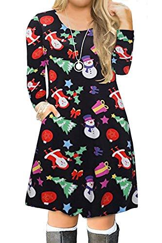 VISLILY Women's Plus Size Christmas Printed Party Dress Xmas Swing Tshirt Dress 22W 02B