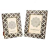 GAURI KOHLI - Marco de fotos con incrustaciones de hueso marroquí, diseño de celosía marroquí, juego de regalo | para colgar en la pared y mesa hechos a mano (2 unidades)