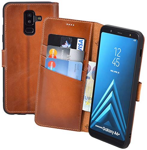 Suncase Book-Style (Slim-Fit) Leather Case Mobile Phone Case Cover (met standaard functie en kaartenvak - onbreekbare binnenschaal) voor Samsung Galaxy A6 Plus (2018), gebrand cognac
