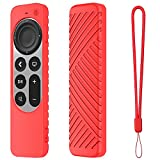 LYWHL for Apple TV 4K 2021 Remote Control Cover Case, Silicone Silky-Soft Anti-Slip Shockproof Full Body Protective Case for Apple TV 4K Siri Remote 2021 (Red)