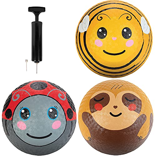 Animal Playground Balls 8.5  (3 Pack) - Textured Rubber Grip - Great for Dodge Ball  Kick Ball  Indoor Outdoor Games Accessories  Gaga Ball  School Supplies  Yoga  Sports - Includes Pump!