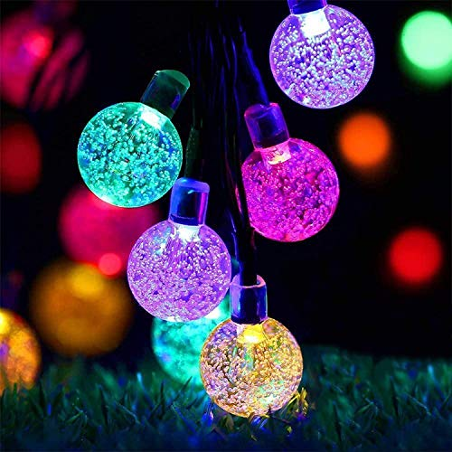 Solar Garden Lights, 50 LED Outdoor String Lights Multi-Coloured Crystal Ball Fairy Lights 23Ft Waterproof Decorative Lighting for Garden, Patio, Yard, Christmas