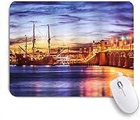 VAMIX マウスパッド 個性的 おしゃれ 柔軟 かわいい ゴム製裏面 ゲーミングマウスパッド PC ノートパソコン オフィス用 デスクマット 滑り止め 耐久性が良い おもしろいパターン (アメリカ合衆国オーガスティンフロリダライオンズの有名な橋ドリーミーサンセットマジェスティック)