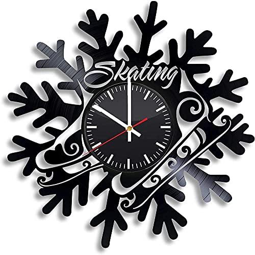GVSPMOND Disco de Vinilo Reloj de Pared Club de Patinaje Habilidades Deportivas Hielo Figura Patinador Reloj de Pared Sala de Estar Cocina decoración Retro