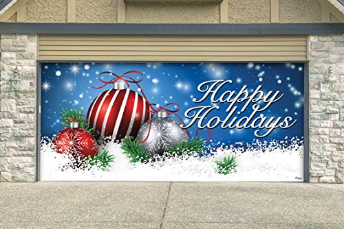 Blue, Red and White Ornaments in Snow Christmas Garage Door Cover