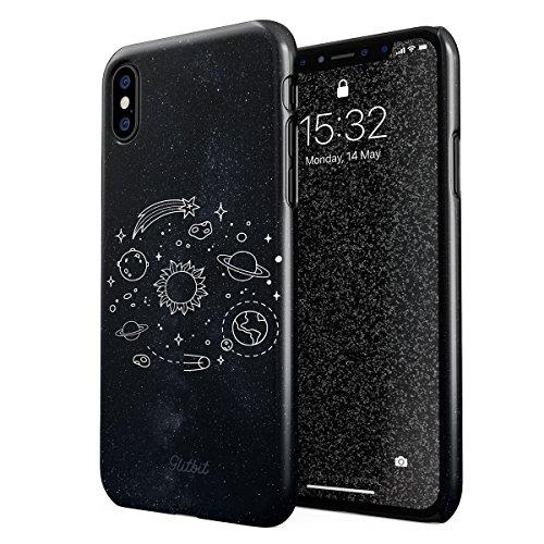Glitbit Hülle Kompatibel mit iPhone X, iPhone XS Cute Solar System Galaxy Stars Planet Earth Moon Universe Space Welt Sterne Universum Dünn Robuste Rückschale aus Kunststoff Handyhülle Hülle Cover