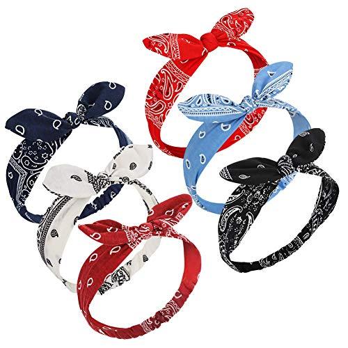 Bolonbi elastische Stirnbänder mit Schleife / Kaninchenohren, Haarbänder, Turban für Damen und Mädchen, Paisley-Druck, 6 Stück