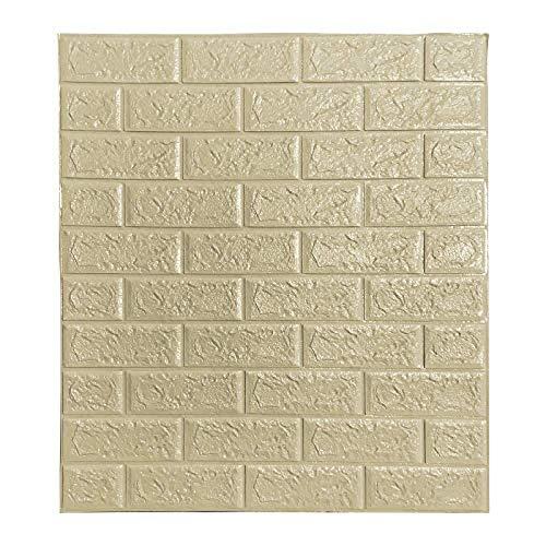Ice-Beaut Packung Mit 10 Selbstklebenden Wandaufklebern, 3D Brick Wallpaper Foam Panel Dekorative Abnehmbare Schallschutzwandpaneel Fliesen FüR Wohnzimmer Schlafzimmer Champagne