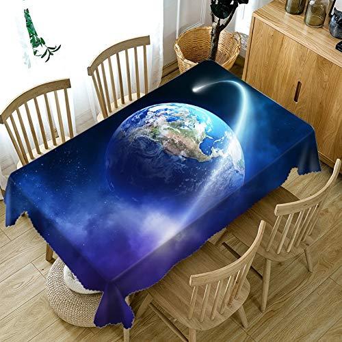 nobranded Earth Planet 3D Bedruckte Tapete Esstischdecke Rechteckiges wasserdichtes Polyester waschbar Verschiedene Größen