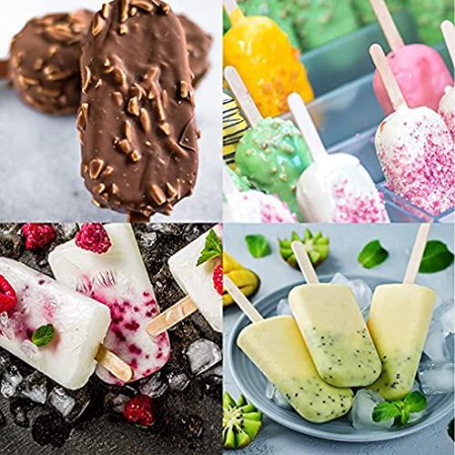 2 paquetes de moldes para helados con 100 varillas de hielo, reutilizables, moldes de silicona de calidad alimentaria, para hacer helados o postres
