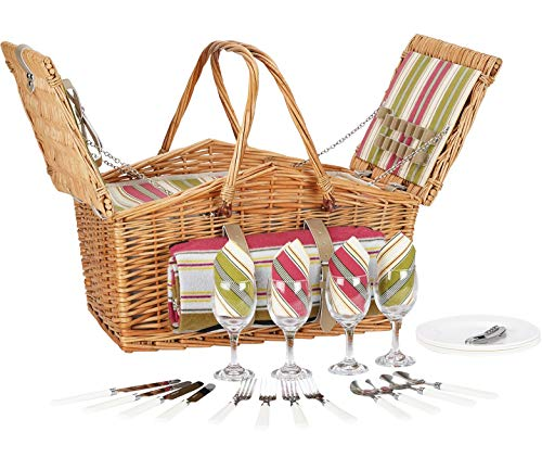 HappyPicnic Willow Picnic Basket for 4 Persons with Large Cooler Compartment and Foldable Handles, Wicker Picnic Hamper with Picnic Blanket, Willow Picnic Set, Picnic Gift Basket (Multi Stripe)