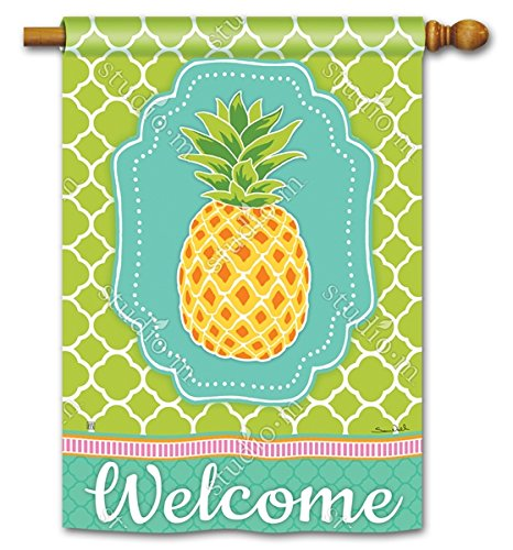 Preppy Ananas tropische Fahne Deko Welcome 71,1 x 101,6 cm Outdoor House