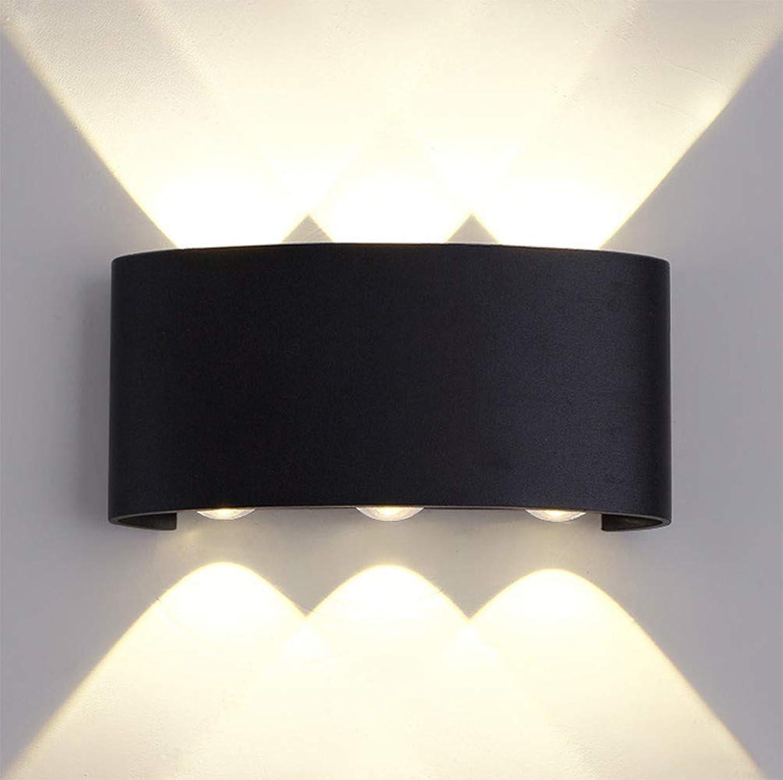 GGO Moderne Auenwandleuchte Wasserdichte LED-Nachttischlampe auf und ab kreativer minimalistischer moderner Schlafzimmerbalkonwandlampe, 1 weies, warmweies Licht