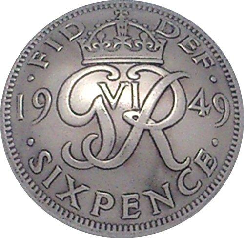 コンチョ イギリス 6ペンス 白銅貨 ジョージ6世 ER-4B ネジ式 1個