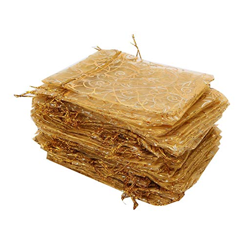 Bolsa duradera con cordón de organza de 100 piezas de 9x12 cm, como bolsa de regalo