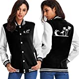 BYYKK Chaquetas Ropa Deportiva Abrigos, Surfer Palm Trees Women's Long Sleeve Baseball Jacket Baseball Cotton Jacket
