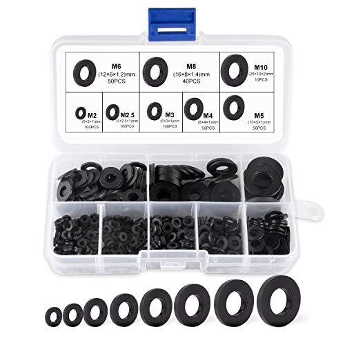 SuMille arandela plana de plastico negro, lavadora para arandelas mecánicas, surtido M2 M2.5 M3 M4 M5 M6 M8 M8 M10 para arandelas mecánicas
