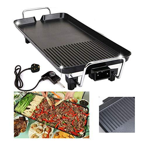 Elektrische Grillplatte 1500W, Teppanyaki-Grill mit Antihaftbeschichtung, Elektrogrill 67x29.5x8.5cm, Indoor BBQ Grill Tischgrill verstellbare Temperatur