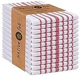 Native Fab Juego de 12 Trapos de Cocina algodón 100%, Absorbente Toallas de té, Toallas de Bar, Lavable a máquina Paños de Cocina 36 x 64 cm Blanco y Rojo