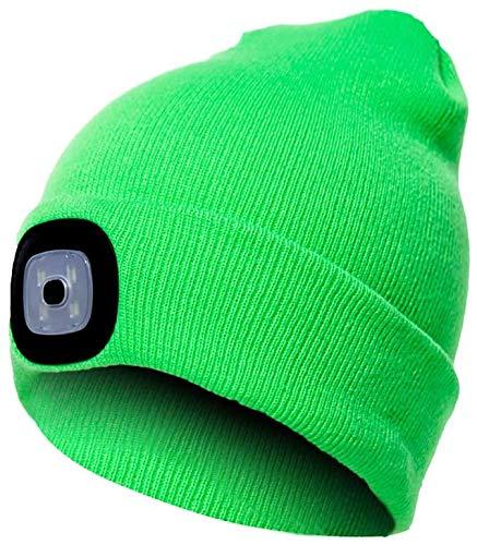 Domybest Gorro con luz gorro USB recargable 4 LED sombrero con linterna frontal extraíble gorro de punto cálido unisex para camping, jogging, esquí, senderismo, ciclismo verde neón Talla única