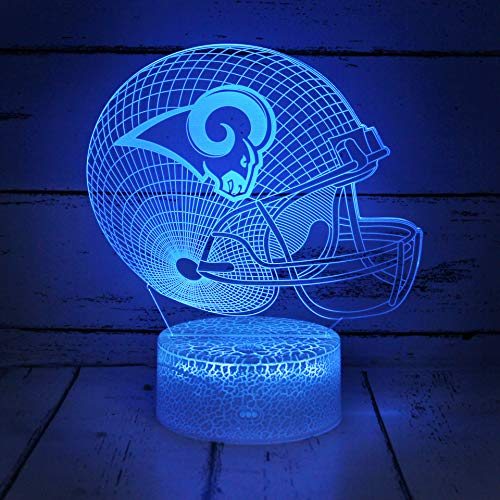 Bigfoot 3D LED Night Light Football Helmet Los Angeles Rams Flat Acrylic Illusion Lighting Floating Lamp with 7 Colors and Touch Sensor, Sports Fan Nightlight Gift for Kids, Boys, Girls, Men or Women