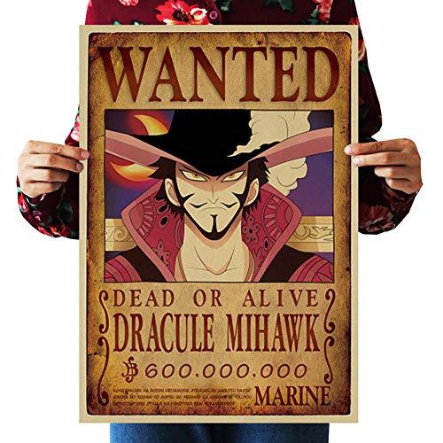 Skisneostype One Piece Wanted Posters Affiche de Papier Kraft Rétro Luffy Choba 51 cm × 35,5 cm, Nouvelle édition(H20)