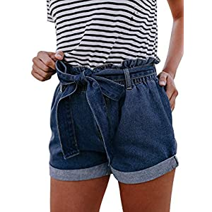 Women's Casual Frayed Destroy Bermuda Denim Ripped Short Jeans