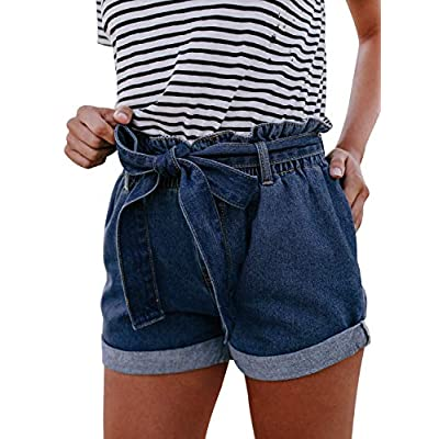Women's Casual Frayed Destroy Bermuda Denim Ripped Short Jeans