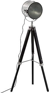 Atmosphera - Lampadaire projecteur en métal et Bois brossé Noir ebor H152