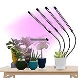 ZJWN Planta Lámpara de Planta, Lámpara de Planta para Plantas de Interior 4 Cabezale Lámpara de Planta Espectro Completo con 3/9 / 12h Temporizador 3 Modos de Interruptor 9 Nivel Dimmable,A