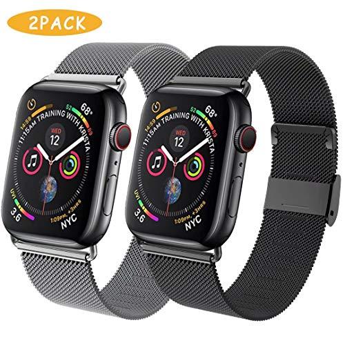 INZAKI kompatibel mit de Apple Watch Armband mit 38mm 40mm 42mm 44mm,Metall Edelstahl Ersatz Armband Kompatibel mit iWatch Series 5/4/3/2/1-2pack