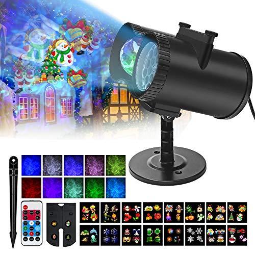 Luces de Proyector Navidad, Impermeable Exterior Decoración Luz de Proyector con 2 Cabezale, Control Remoto y 16 Diapositivas de Patrón para Halloween, Navidad, Valentín, Fiesta, Cumpleaños