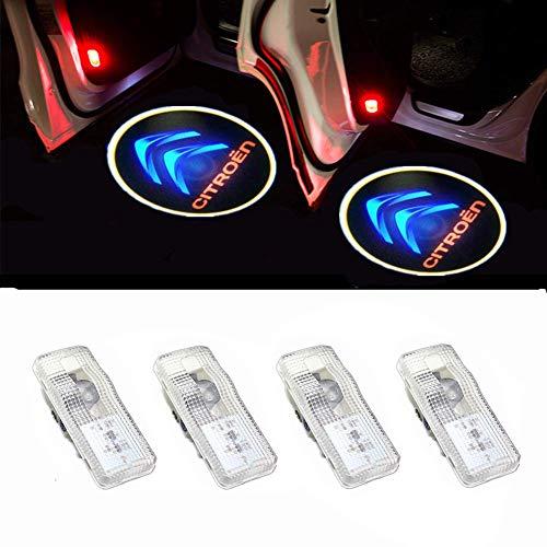 Cool Design 4er Pack Autotür Logo Türbeleuchtung Einstiegsleuchte Projektion Licht (Citroen-4pc)