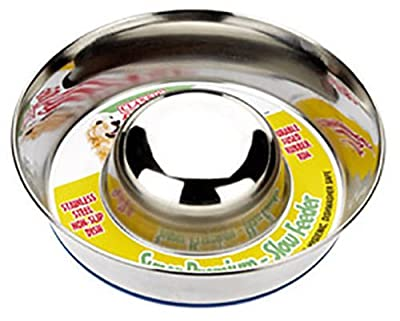 "Paws Products Classic Dog Puppy Anti Gulp Bowl Stainless Steel - Slow Feeder Stops Bloating (Medium 95"" (24cm))"