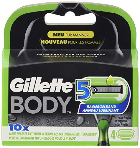 Gillette Body Cuchillas de Afeitar Corporales Hombre con 5 Hojas, Paquete de 4 Cuchillas Recambio