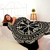 Black Blanket,Plush And Warm Home Soft Cozy Portable Fuzzy Throw Blankets For Couch Bed Sofa,Black Celtic Viking Magical Runic Compass Vegvisir Circle Norse Runes Dragons Tattoo,60'x80'